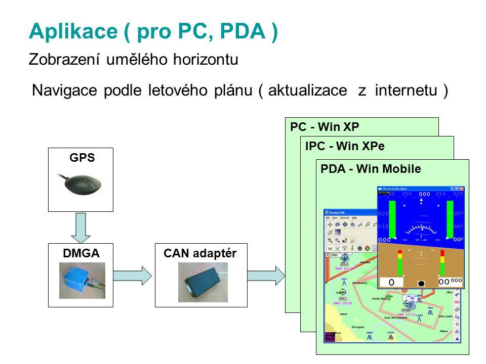 Aplikace ( pro PC, PDA ) Zobrazení umělého horizontu Navigace podle letového plánu ( aktualizace z internetu ) DMGA CAN adaptér PC - Win XP IPC - Win XPe PDA - Win Mobile GPS