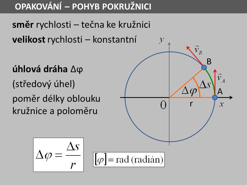 úhlová rychlost podíl úhlové dráhy, kterou průvodič opíše za dobu Δt a této doby Je-li Δs = r pak Δϕ = 1 rad Plný úhel: Δs = 2πr pak Δϕ = 2π rad = 360 0 B r A OPAKOVÁNÍ – POHYB POKRUŽNICI