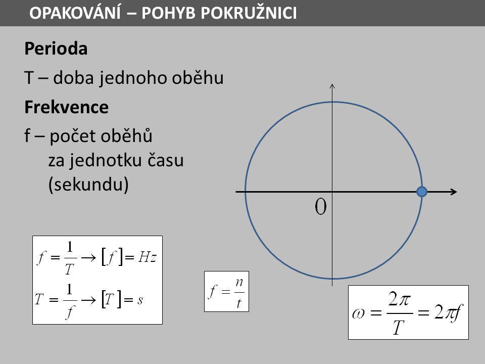 Perioda T – doba jednoho oběhu Frekvence f – počet oběhů za jednotku času (sekundu) OPAKOVÁNÍ – POHYB POKRUŽNICI