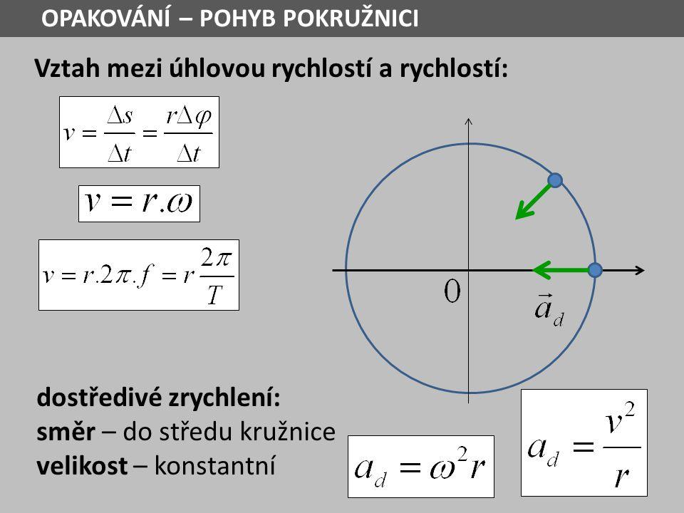 Vztah mezi úhlovou rychlostí a rychlostí: dostředivé zrychlení: směr – do středu kružnice velikost – konstantní OPAKOVÁNÍ – POHYB POKRUŽNICI