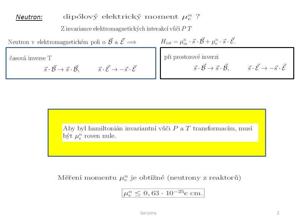 baryony23 Při záchytu Ξ na s –dráze, silná interakce Nerozlišitelné fermiony Měřené úhlové rozdělení odpovídalo teoretickému rozdělení pro pa