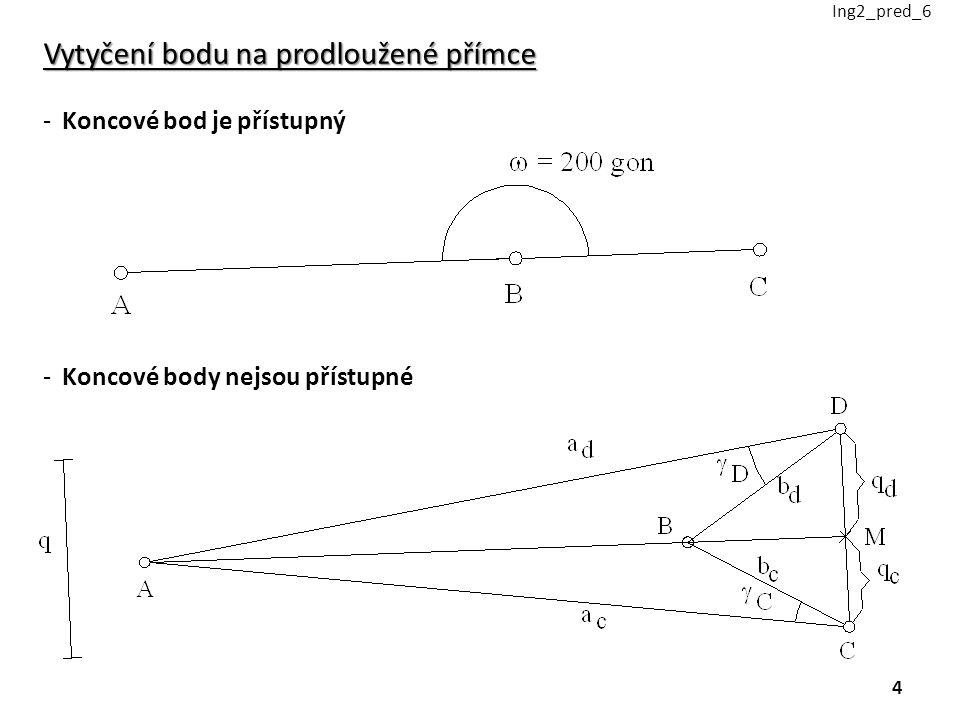 Vytyčení bodu na prodloužené přímce -Koncové bod je přístupný -Koncové body nejsou přístupné Ing2_pred_6 4