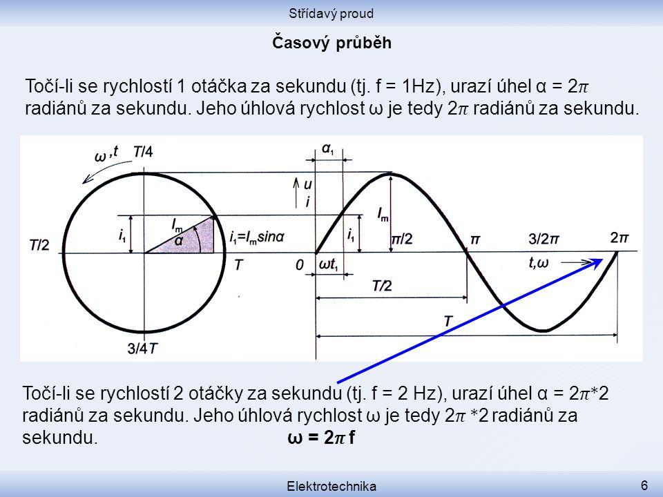Střídavý proud Elektrotechnika 6 Točí-li se rychlostí 1 otáčka za sekundu (tj. f = 1Hz), urazí úhel α = 2 radiánů za sekundu. Jeho úhlová rychlost ω j