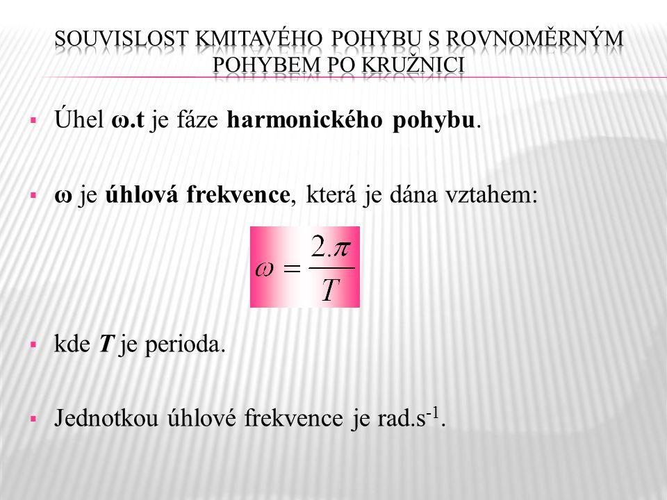  Úhel ω.t je fáze harmonického pohybu.