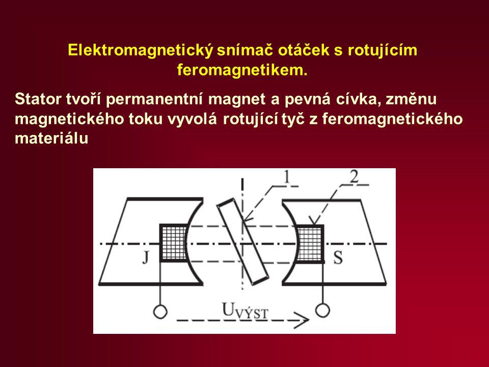 Elektromagnetický snímač otáček s rotujícím feromagnetikem. Stator tvoří permanentní magnet a pevná cívka, změnu magnetického toku vyvolá rotující tyč