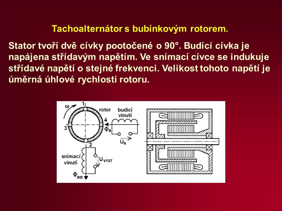 Tachoalternátor s bubínkovým rotorem. Stator tvoří dvě cívky pootočené o 90°. Budící cívka je napájena střídavým napětím. Ve snímací cívce se indukuje