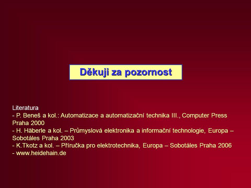 Děkuji za pozornost Literatura - P. Beneš a kol.: Automatizace a automatizační technika III., Computer Press Praha 2000 - H. Häberle a kol. – Průmyslo