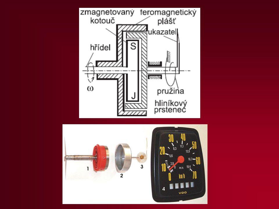 Elektrodynamické otáčkoměry podle indukčního zákona U = B.l.v generují napětí přímo úměrné úhlové rychlosti ω.