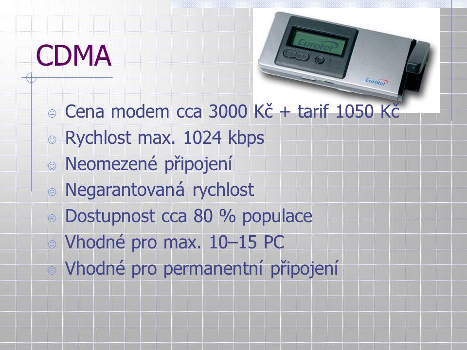 CDMA  Cena modem cca 3000 Kč + tarif 1050 Kč Rychlost max. 1024 kbps Neomezené připojení  Negarantovaná rychlost  Dostupnost cca 80 % populace  Vh