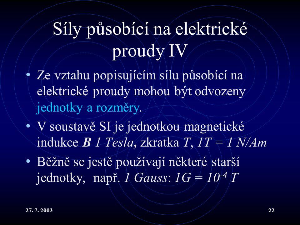 27. 7. 200322 Síly působící na elektrické proudy IV Ze vztahu popisujícím sílu působící na elektrické proudy mohou být odvozeny jednotky a rozměry. V