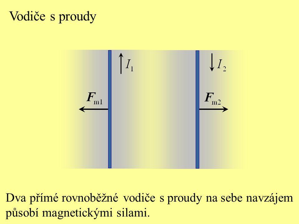 Vodiče s proudy Dva přímé rovnoběžné vodiče s proudy na sebe navzájem působí magnetickými silami.