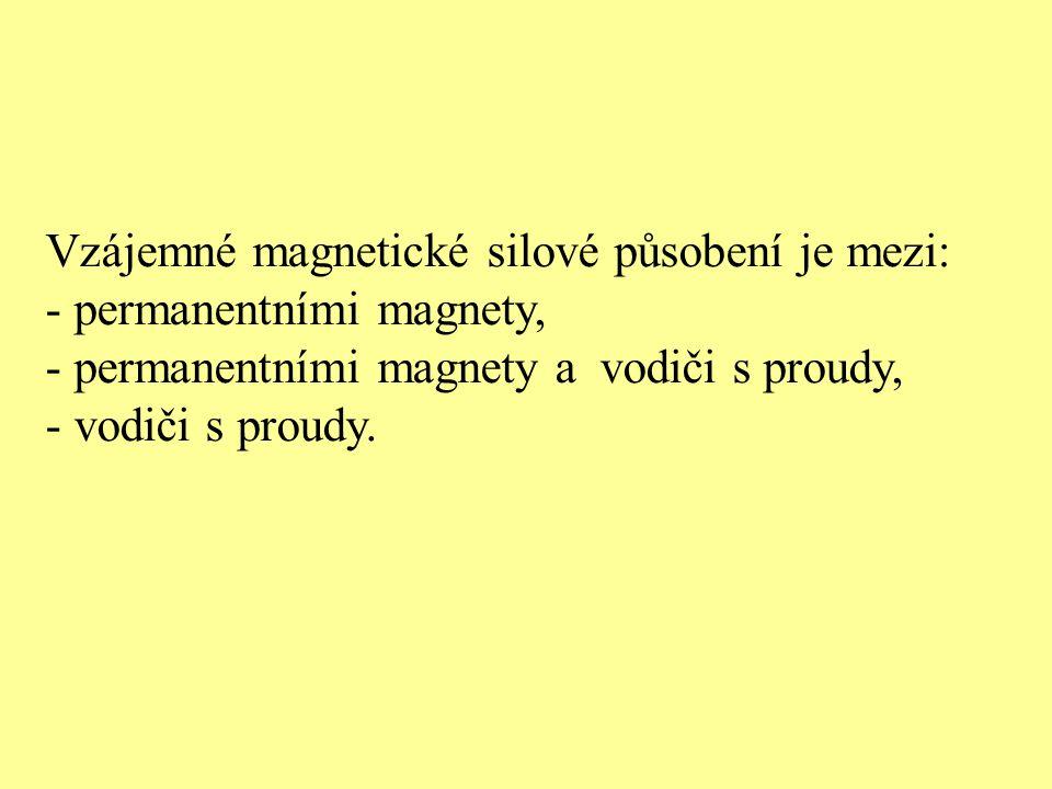 Vzájemné magnetické silové působení je mezi: - permanentními magnety, - permanentními magnety a vodiči s proudy, - vodiči s proudy.