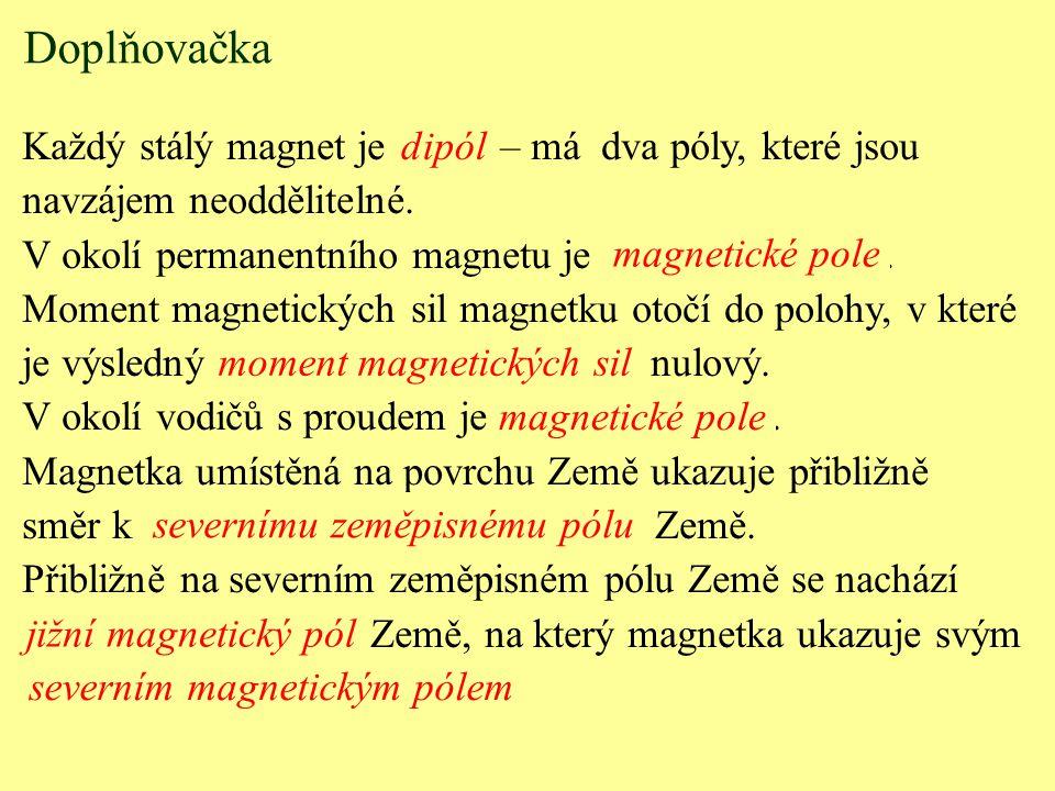Každý stálý magnet je......... – má dva póly, které jsou navzájem neoddělitelné. V okolí permanentního magnetu je............................. Moment