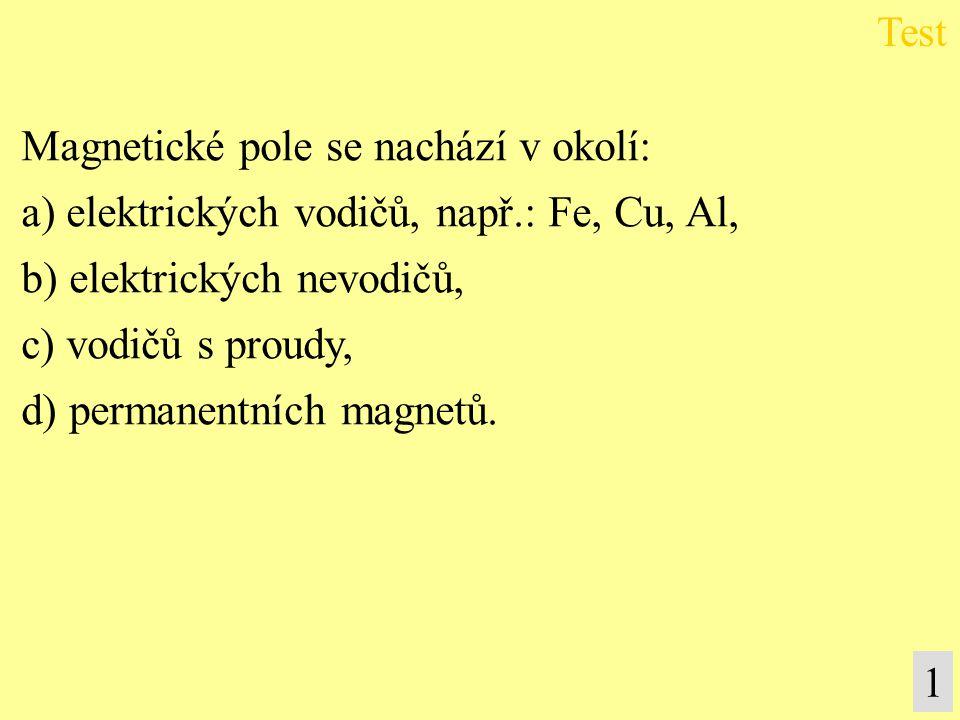 Magnetické pole se nachází v okolí: a) elektrických vodičů, např.: Fe, Cu, Al, b) elektrických nevodičů, c) vodičů s proudy, d) permanentních magnetů.