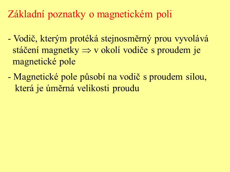 Základní poznatky o magnetickém poli - Vodič, kterým protéká stejnosměrný prou vyvolává stáčení magnetky  v okolí vodiče s proudem je magnetické pole