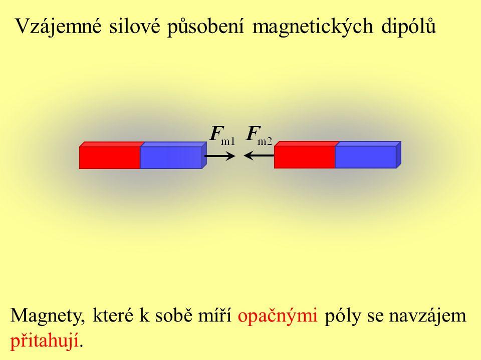 Magnety, které k sobě míří opačnými póly se navzájem přitahují. Vzájemné silové působení magnetických dipólů