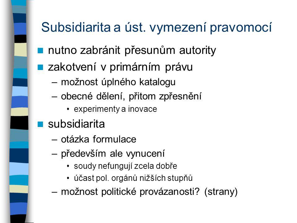 Subsidiarita a úst. vymezení pravomocí nutno zabránit přesunům autority zakotvení v primárním právu –možnost úplného katalogu –obecné dělení, přitom z