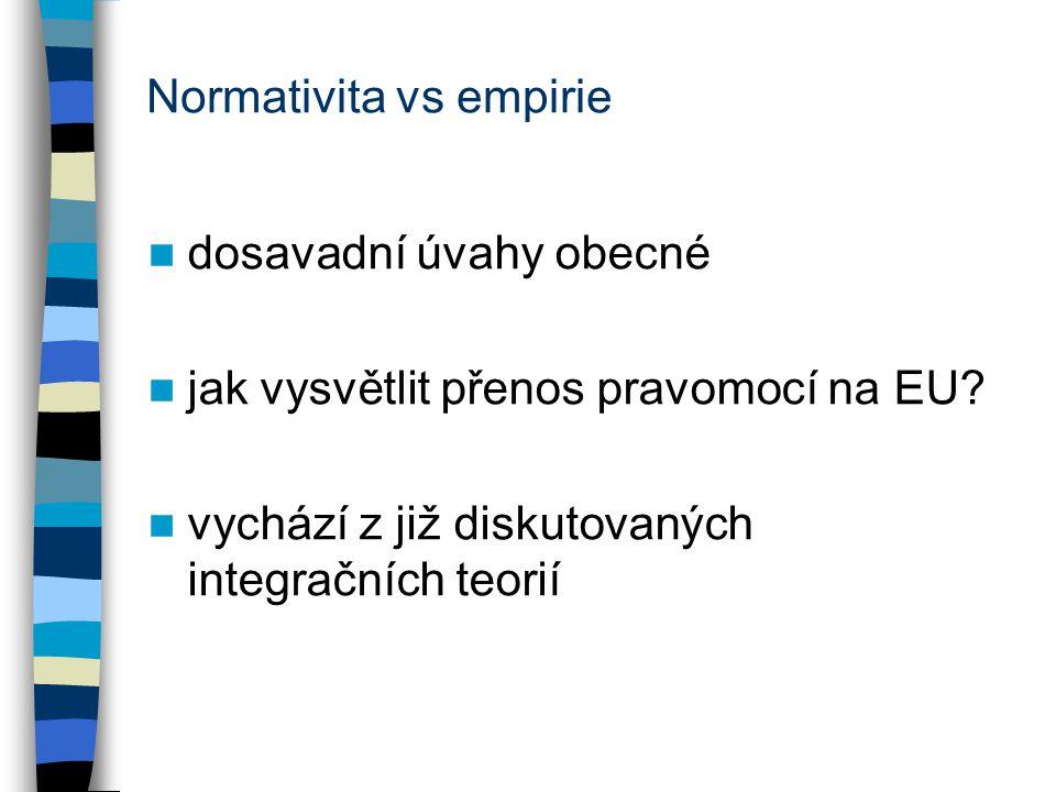 Normativita vs empirie dosavadní úvahy obecné jak vysvětlit přenos pravomocí na EU? vychází z již diskutovaných integračních teorií