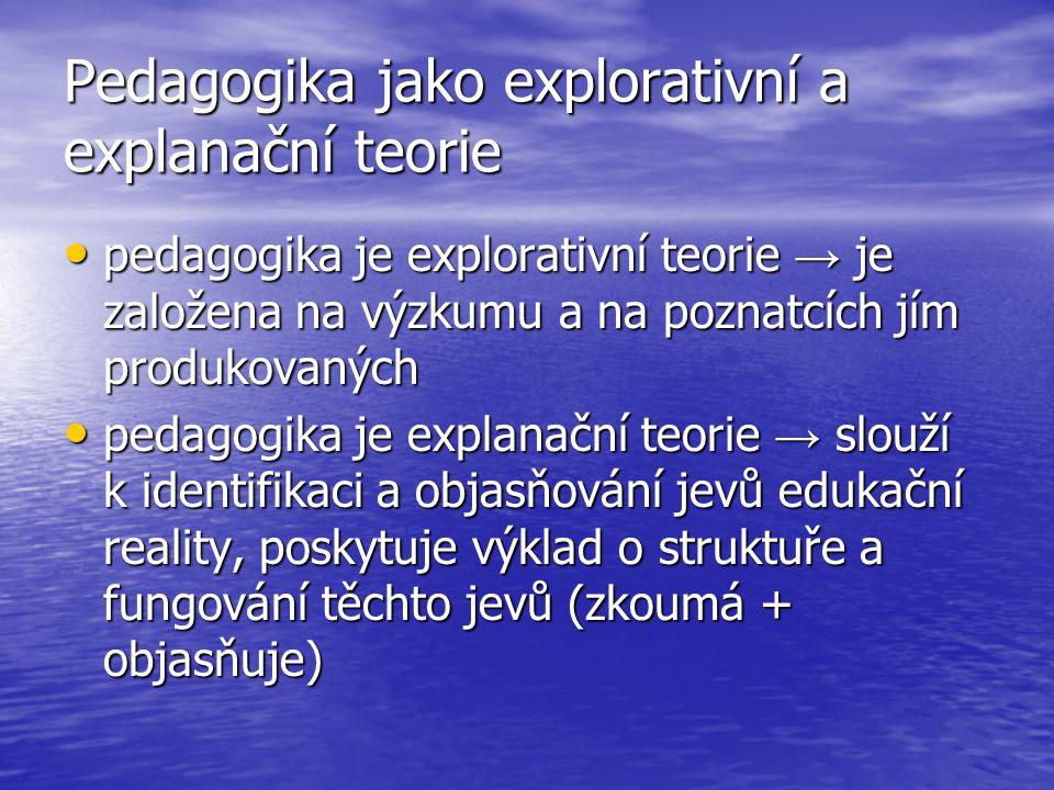 Pedagogika jako explorativní a explanační teorie pedagogika je explorativní teorie → je založena na výzkumu a na poznatcích jím produkovaných pedagogika je explorativní teorie → je založena na výzkumu a na poznatcích jím produkovaných pedagogika je explanační teorie → slouží k identifikaci a objasňování jevů edukační reality, poskytuje výklad o struktuře a fungování těchto jevů (zkoumá + objasňuje) pedagogika je explanační teorie → slouží k identifikaci a objasňování jevů edukační reality, poskytuje výklad o struktuře a fungování těchto jevů (zkoumá + objasňuje)