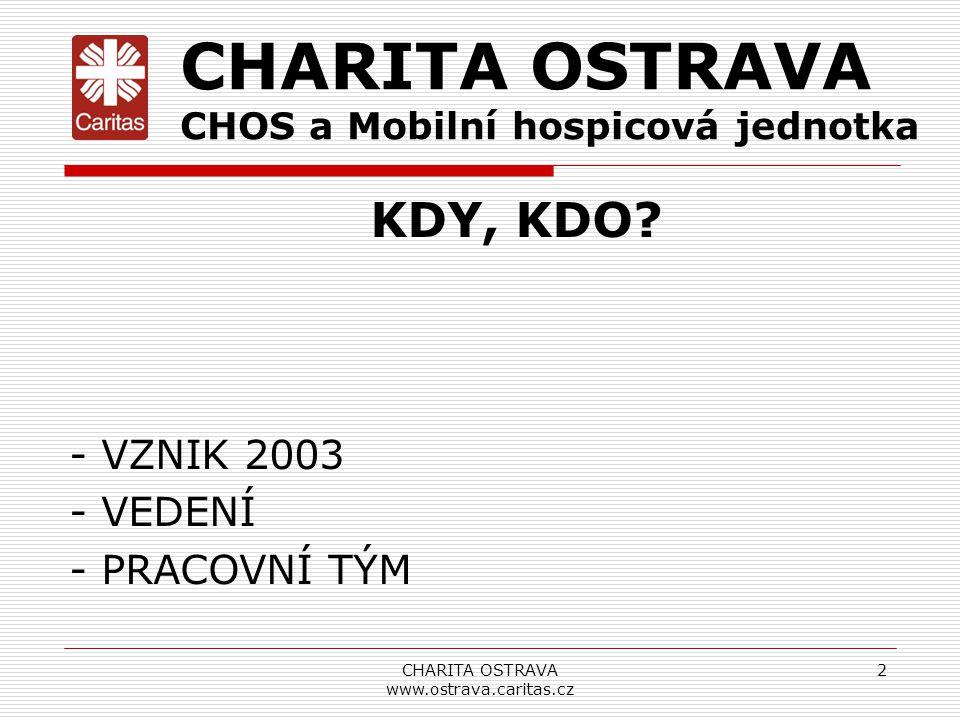 KDY, KDO? - VZNIK 2003 - VEDENÍ - PRACOVNÍ TÝM CHARITA OSTRAVA www.ostrava.caritas.cz 2 CHARITA OSTRAVA CHOS a Mobilní hospicová jednotka