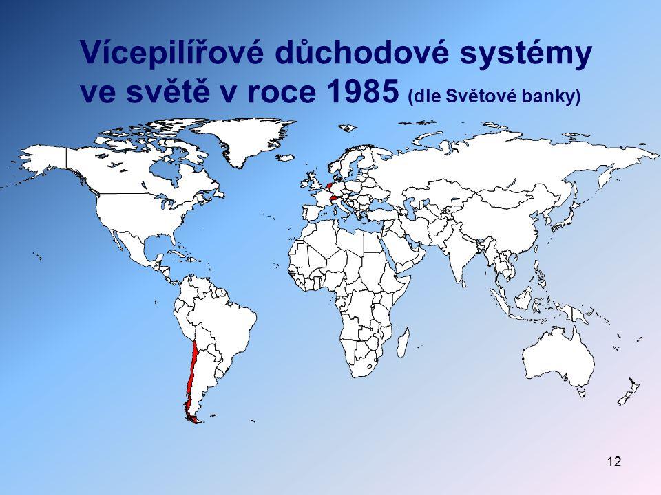 12 Vícepilířové důchodové systémy ve světě v roce 1985 (dle Světové banky)