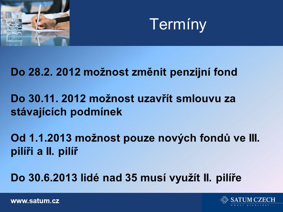 Termíny www.satum.cz Do 28.2. 2012 možnost změnit penzijní fond Do 30.11. 2012 možnost uzavřít smlouvu za stávajících podmínek Od 1.1.2013 možnost pou