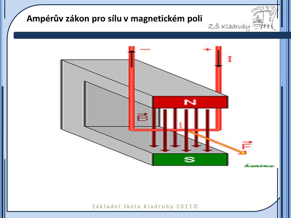 Základní škola Kladruby 2011  Ampérův zákon pro sílu v magnetickém poli Tento vztah udává sílu, kterou působí magnetické pole na elektrický vodič pro