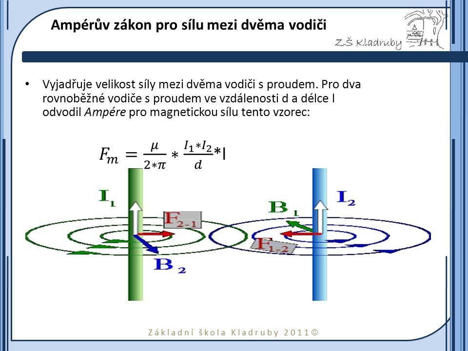 Základní škola Kladruby 2011  Ampérův zákon pro sílu mezi dvěma vodiči Vyjadřuje velikost síly mezi dvěma vodiči s proudem. Pro dva rovnoběžné vodiče