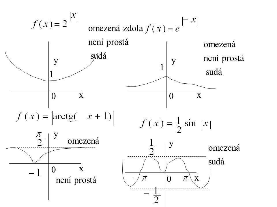 0 x y 0 x y 1 0 x y 0 x y omezená zdola není prostá sudá omezená není prostá sudá omezená není prostá omezená sudá 1
