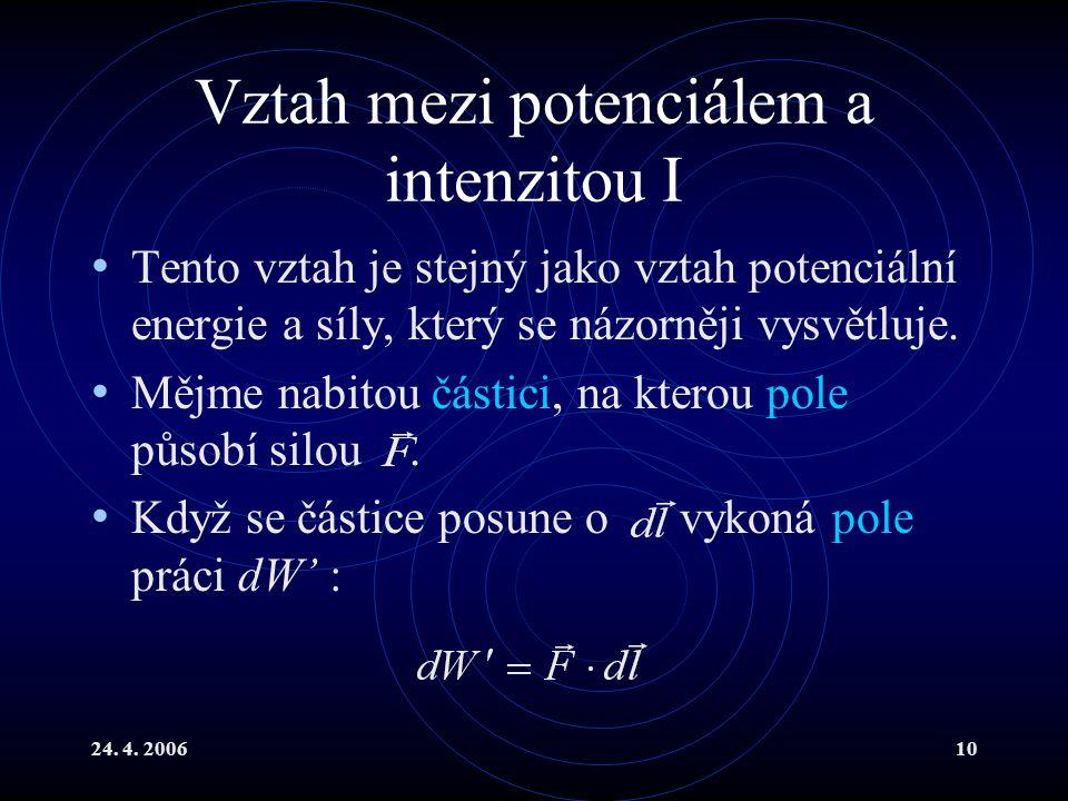 24. 4. 200610 Vztah mezi potenciálem a intenzitou I Tento vztah je stejný jako vztah potenciální energie a síly, který se názorněji vysvětluje. Mějme