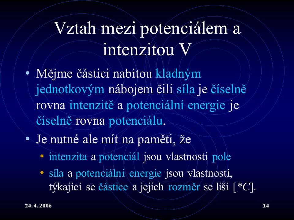 24. 4. 200614 Vztah mezi potenciálem a intenzitou V Mějme částici nabitou kladným jednotkovým nábojem čili síla je číselně rovna intenzitě a potenciál