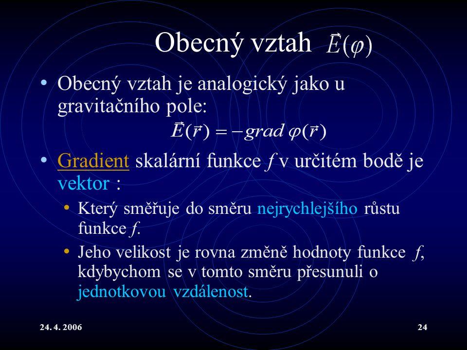 24. 4. 200624 Obecný vztah Obecný vztah je analogický jako u gravitačního pole: Gradient skalární funkce f v určitém bodě je vektor : Gradient Který s