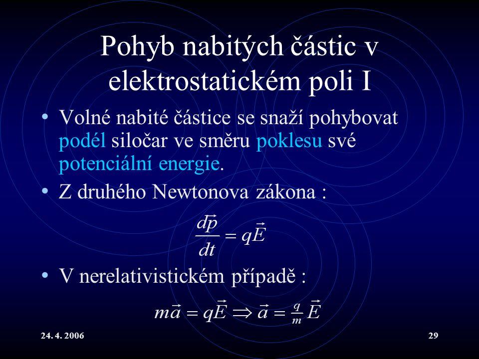 24. 4. 200629 Pohyb nabitých částic v elektrostatickém poli I Volné nabité částice se snaží pohybovat podél siločar ve směru poklesu své potenciální e