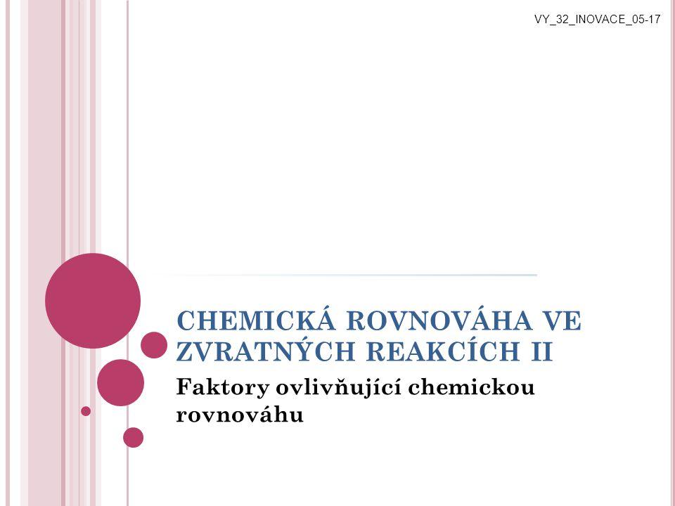CHEMICKÁ ROVNOVÁHA VE ZVRATNÝCH REAKCÍCH II Faktory ovlivňující chemickou rovnováhu VY_32_INOVACE_05-17