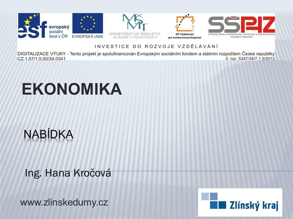 Ing. Hana Kročová EKONOMIKA www.zlinskedumy.cz