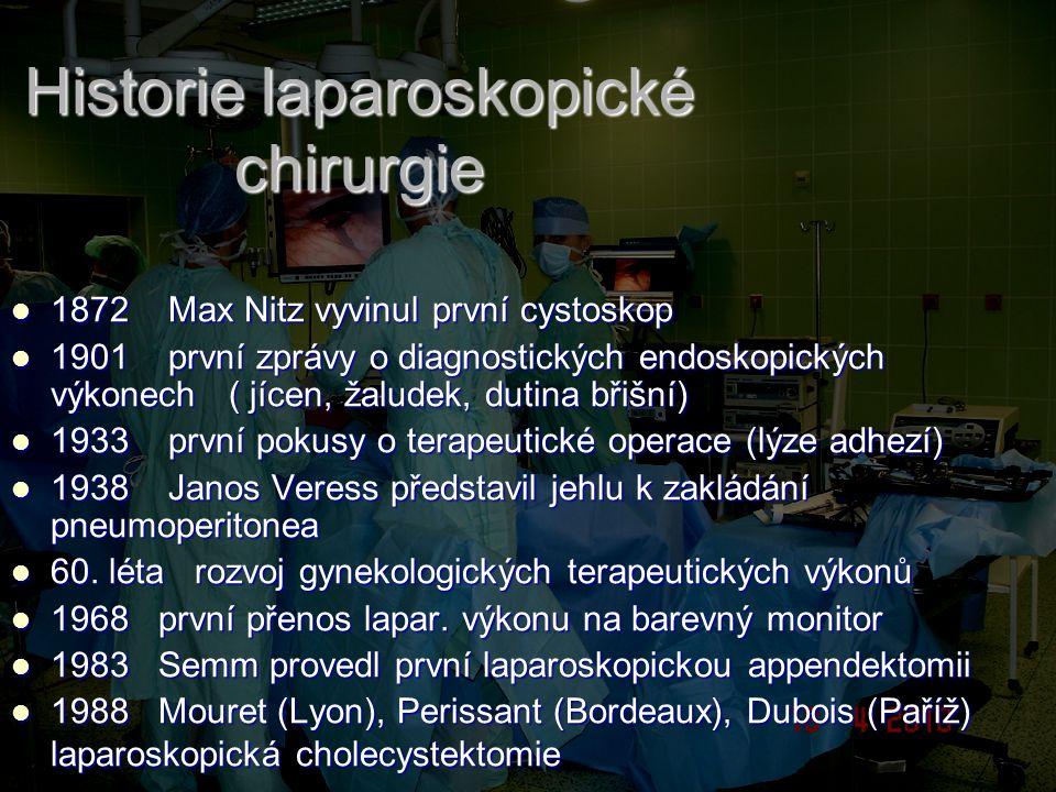 Historie laparoskopické chirurgie 1872 Max Nitz vyvinul první cystoskop 1872 Max Nitz vyvinul první cystoskop 1901 první zprávy o diagnostických endos