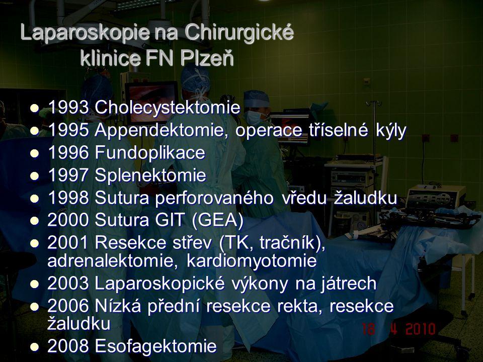 Laparoskopie na Chirurgické klinice FN Plzeň 1993 Cholecystektomie 1993 Cholecystektomie 1995 Appendektomie, operace tříselné kýly 1995 Appendektomie,
