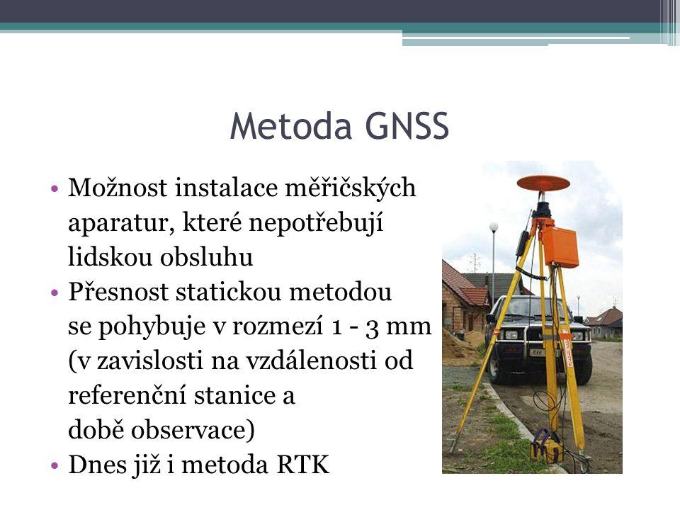 Metoda GNSS Možnost instalace měřičských aparatur, které nepotřebují lidskou obsluhu Přesnost statickou metodou se pohybuje v rozmezí 1 - 3 mm (v zavi