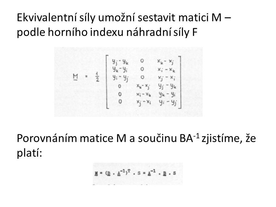 Ekvivalentní síly umožní sestavit matici M – podle horního indexu náhradní síly F Porovnáním matice M a součinu BA -1 zjistíme, že platí: