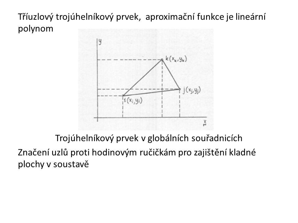 Tříuzlový trojúhelníkový prvek, aproximační funkce je lineární polynom Trojúhelníkový prvek v globálních souřadnicích Značení uzlů proti hodinovým ruč