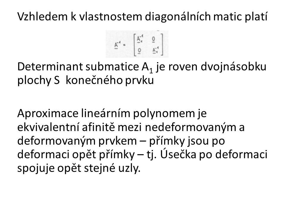 Vzhledem k vlastnostem diagonálních matic platí Determinant submatice A 1 je roven dvojnásobku plochy S konečného prvku Aproximace lineárním polynomem