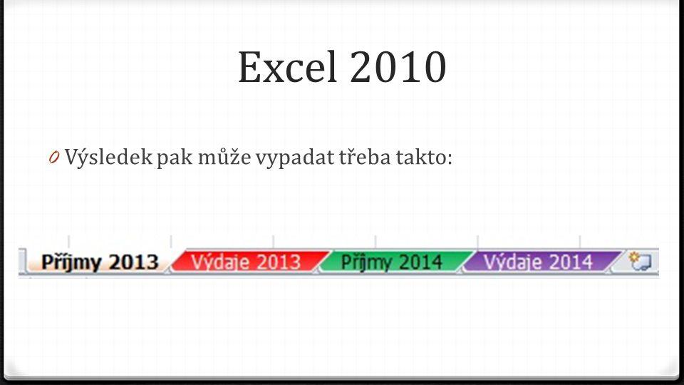 Excel 2010 0 Výsledek pak může vypadat třeba takto: