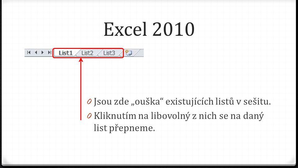 """Excel 2010 0 Jsou zde """"ouška"""" existujících listů v sešitu. 0 Kliknutím na libovolný z nich se na daný list přepneme."""