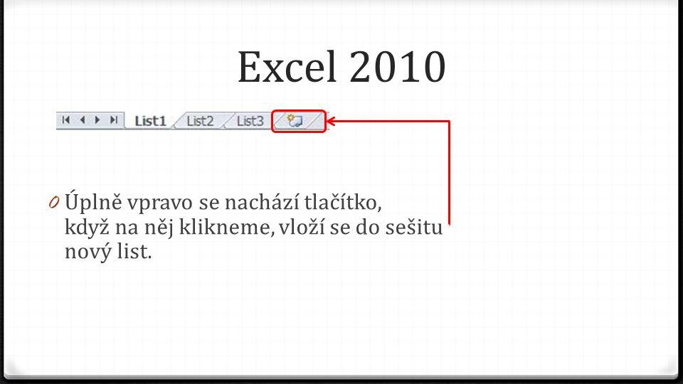 Excel 2010 0 Úplně vpravo se nachází tlačítko, když na něj klikneme, vloží se do sešitu nový list.