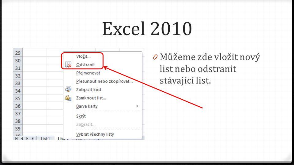 Excel 2010 0 Můžeme zde vložit nový list nebo odstranit stávající list.