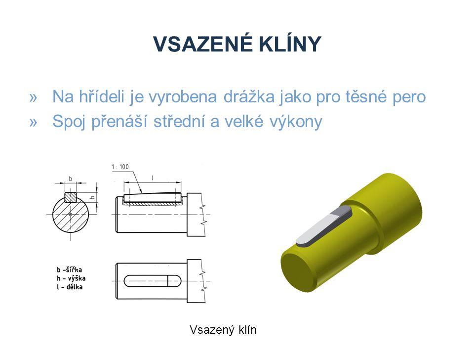 VSAZENÉ KLÍNY »Na hřídeli je vyrobena drážka jako pro těsné pero »Spoj přenáší střední a velké výkony Vsazený klín