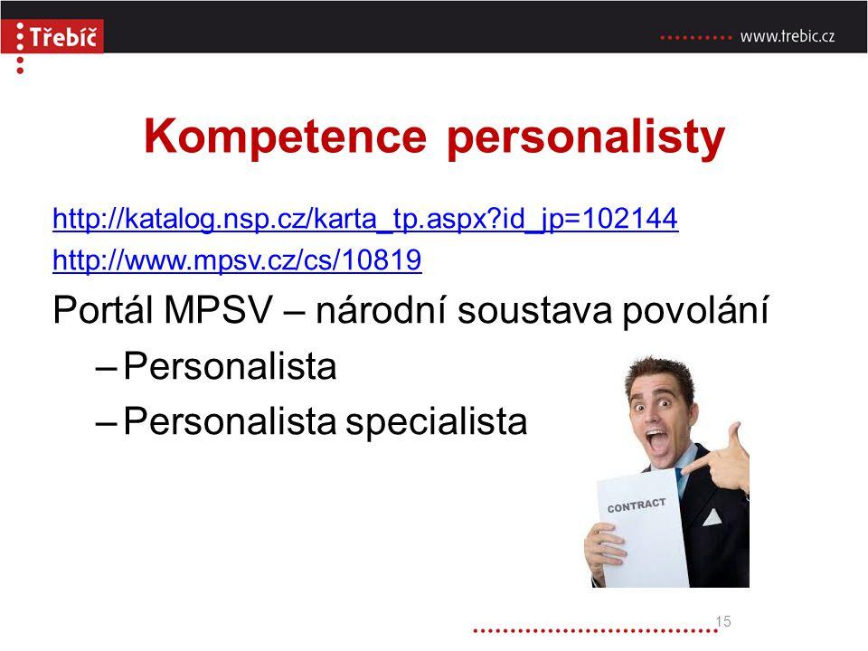 Kompetence personalisty http://katalog.nsp.cz/karta_tp.aspx?id_jp=102144 http://www.mpsv.cz/cs/10819 Portál MPSV – národní soustava povolání –Personal