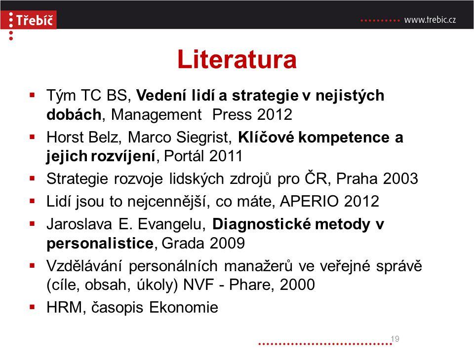 Literatura 19  Tým TC BS, Vedení lidí a strategie v nejistých dobách, Management Press 2012  Horst Belz, Marco Siegrist, Klíčové kompetence a jejich
