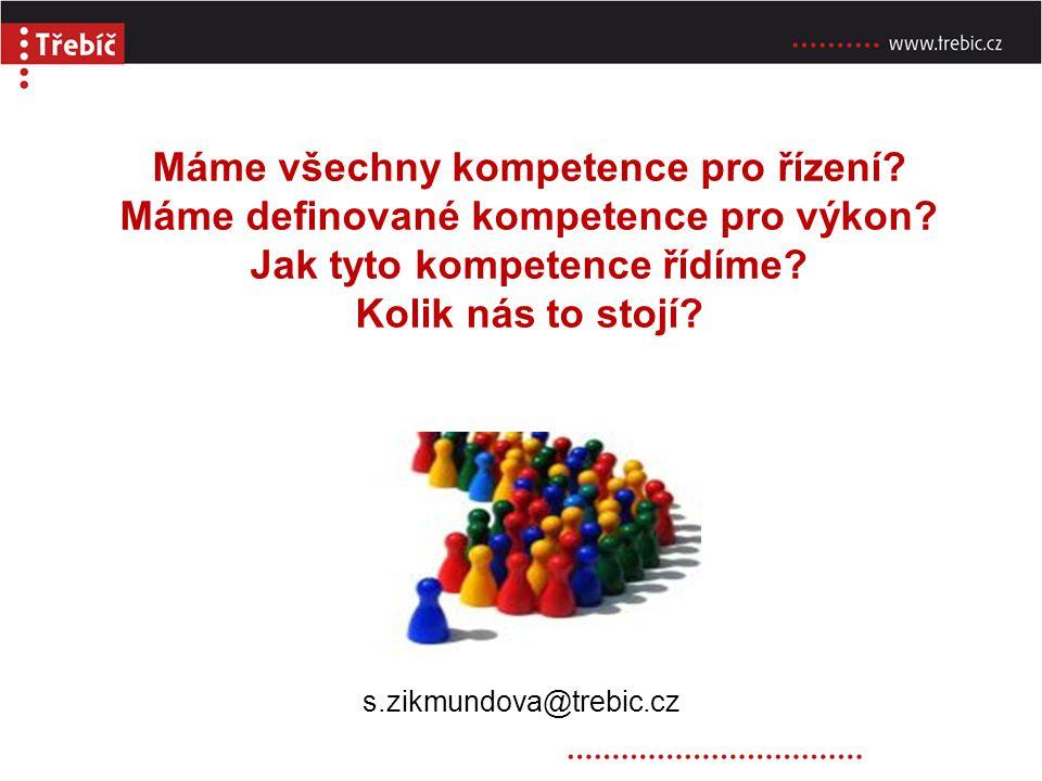 Máme všechny kompetence pro řízení? Máme definované kompetence pro výkon? Jak tyto kompetence řídíme? Kolik nás to stojí? s.zikmundova@trebic.cz