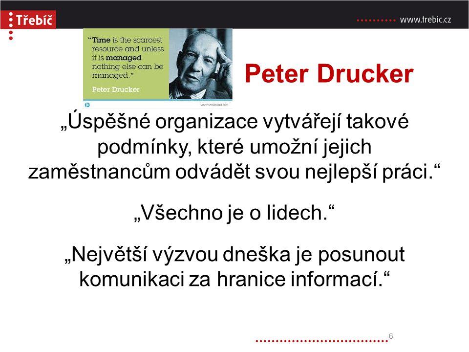 """Peter Drucker """"Úspěšné organizace vytvářejí takové podmínky, které umožní jejich zaměstnancům odvádět svou nejlepší práci."""" """"Všechno je o lidech."""" """"Ne"""
